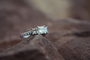 Evermore Colorless Engagement Ring + Wedding Band