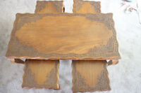 Indian Antique Rosewood Carved Coffee table/ 4 small tables