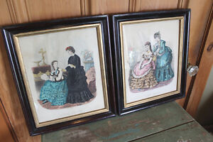 Antique Pair of Early Fashion Prints London Ontario image 1