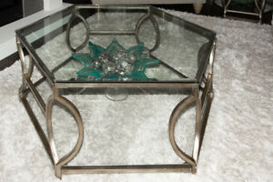 Designer Coffee and 2 End Tables - antiqued bronze and glass