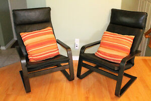 2 x IKEA Leather Poang Chairs with Pillows