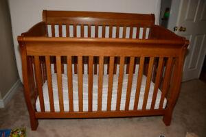 Solid cherrywood Crib + mattress +bump pad