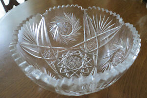 Cut glass bowl - American brilliant period  -  Hobstar Pinwheel