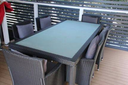 7 Piece Outdoor Dining Setting including cushions
