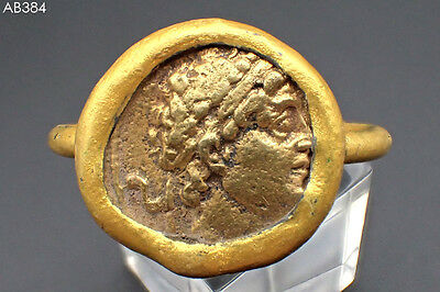 Lovely Old Gold Plated Roman Ceasar Coin Wonderful Gold Cap Ring Size 10.5#384