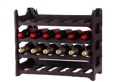 4 Regal Kunststoff-regal (Flaschenregal Weinregal 4 teilig für 24 Flaschen in braun)