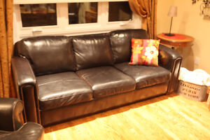 Beautiful Genuine 3-Seat Leather Couch