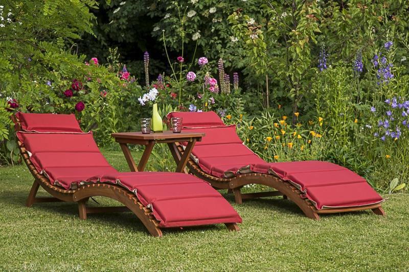 Merxx Gartenliege 2x Ipanema inkl. Wendekissen rot/beige mit Hocker, Eukalyptus