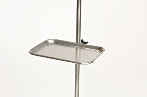 "New MCM-260 Add A Tray Stainless Steel 13"" x 9"" Compete with IV Pole Bracket"