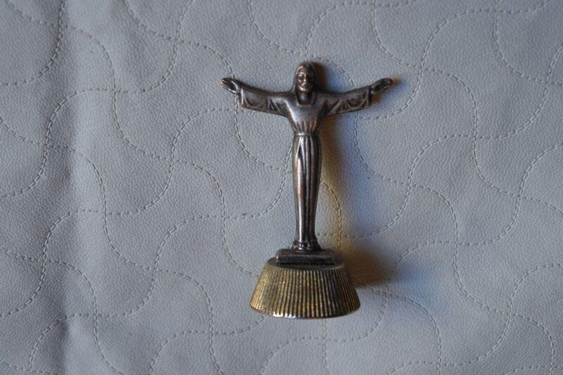 Antique Metal Statue Figure Jesus Redeemer