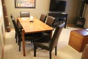 Dining Table and 6 leather look chairs
