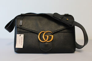 GUCCI BLACK LEATHER WITH BRONZE NEW LOGO HANDBAG