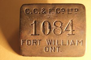 Old  FORT WILLIAM ID Metal Tag / Badge (VIEW OTHER ADS) Kitchener / Waterloo Kitchener Area image 1