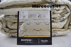 Martha Stewart Westminster Vines QUEEN Embroidered Bedspread Ivory - Blue