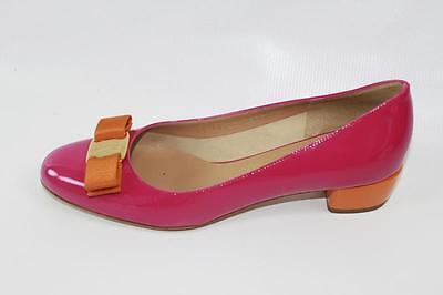 AUTH Salvatore Ferragamo Women Vara Patent Leather 3cm Heel Pumps Shoes 7.5B