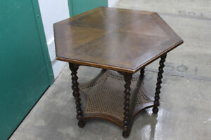 VINTAGE BARLEY TWIST/CANED INLAY TOP TABLE