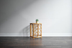 SOLD - Vintage Bamboo Rattan Small Side Table 2