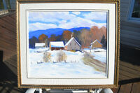 CHRISTIAN BERGERON OIL ON CANVAS WINTER  PAINTING MINT