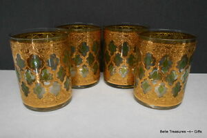 4-Vintage-Culver-Valencia-Tumblers-22K-Gold-Green-Diamonds