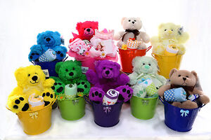 NEW BORN / BABY SHOWER GIFT / GIFT BASKET / BEAR IN A BUCKET Ridgehaven Tea Tree Gully Area Preview