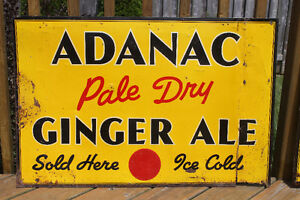TWO 1940's Adanac Ginger Ale Signs London Ontario image 2