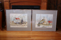 Two Framed Water Colour Art Paintings of Rural Quebec
