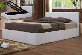 Double, ottoman, storage, leather bed, Hydraulic lift bed, Memory Foam mattress. Brown, white,