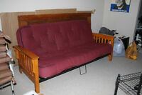 Futon with extra thick mattress, wood and metal frame