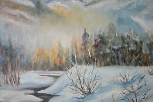 ORIGINAL OIL ON CANVAS WINTER SCENE PAINTING SIGNED