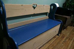 Beautiful wood storage bench with hearts