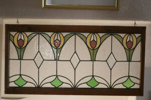 FANTASTIC LEADED GLASS WINDOW VERY OLD 37 X 18 INCHES