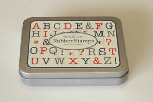 Rubber Stamps : Alphabet set in tin : Wood-Mounted : As New