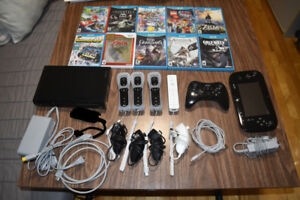 Wii U with 10 games 4 Wiimotes 1 Pro controller