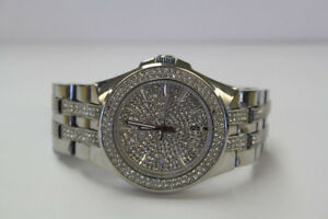 **BLING** Bulova Mens 96B235 Swarovski Crystal Watch (#15421)