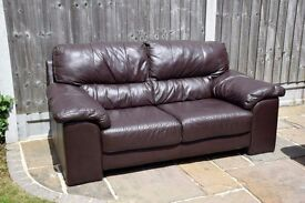 2x Seater Dark Brown Leather Sofa