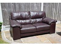 2x Seater Dark Brown Leather Sofa