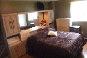 BEDROOM SET TALL BOY,DRESSER,MIRROR AND WALL UNIT CALL TO SET TI