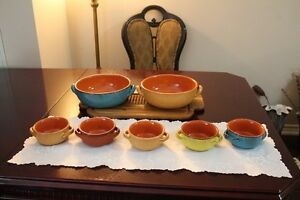 Set of Ceramic Colorful Serving Bowls and Soup Bowls