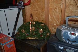 LARGE LIGHT UP CHRISTMAS BASKET DECORATION CENTERPIECE ORNAMENT