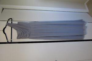 TWO light grey, full length, one shoulder bridesmaid dresses!