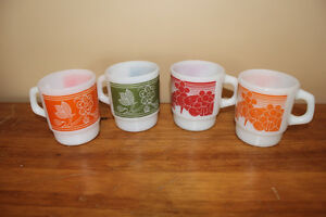 Lot of 4 Vintage Fire King Anchor Hocking Oven Proof Mugs