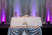 WEDDING DECORATIONS, SASHES, BACKDROPS, CEILING DRAPINGS