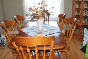 Ash Dining Table/ Chairs and Hutch