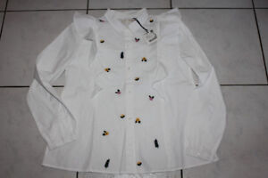"GIRLS ZARA EMBROIDERED WHITE BLOUSE WITH RUFFLES SIZE 12-14 ""NEW"