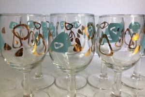 Vintage Amoeba Wine Glasses-Set of 8-Mint Condition