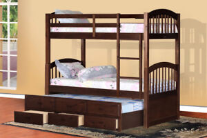 SINGLE OVER SINGLE BUNKBED WITH TRUNDLE AND DRAWERS ESPRESSO