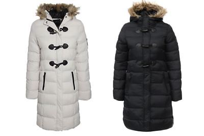 Womens Faux Fur Trim Lined Hooded Full Zip Toggle Buttons Winter Jacket Coat Trim Hooded Toggle