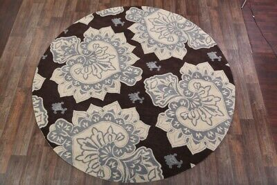 Hand Tufted Transitional Grey/Brown Round 10x10 Oushak Agra Oriental Area Rug ()