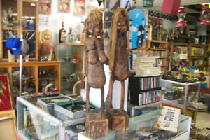 Pair of 42 Inch Carved Wooden Afrikaans Couple