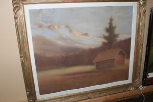 Old Framed Picture of a Cabin - Done In Chalk London Ontario image 2